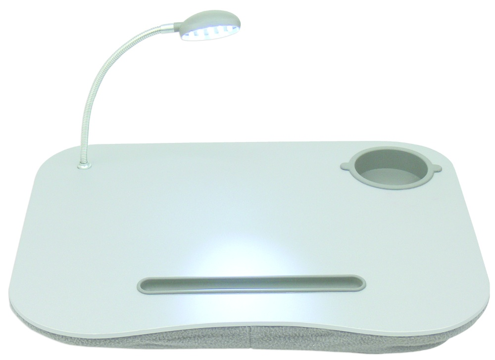 """QVS Base con Portavasos y Luz para Laptop 12"""", Blanco"""