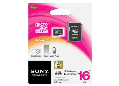 Memoria Flash Sony, 16GB MicroSDHC Clase 4, con Adaptador