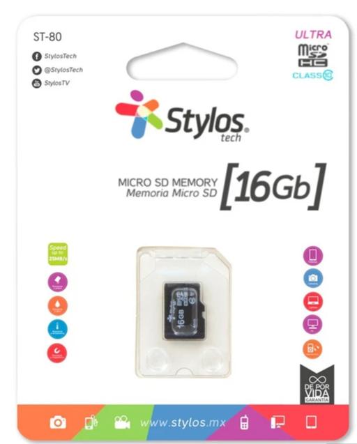 Memoria Flash Stylos STMSD16B, 16GB MicroSDHC Clase 10, con Adaptador