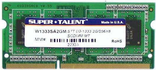 Memoria RAM Super Talent Technology DDR3, 1333MHz, 2GB, CL9, SO-DIMM