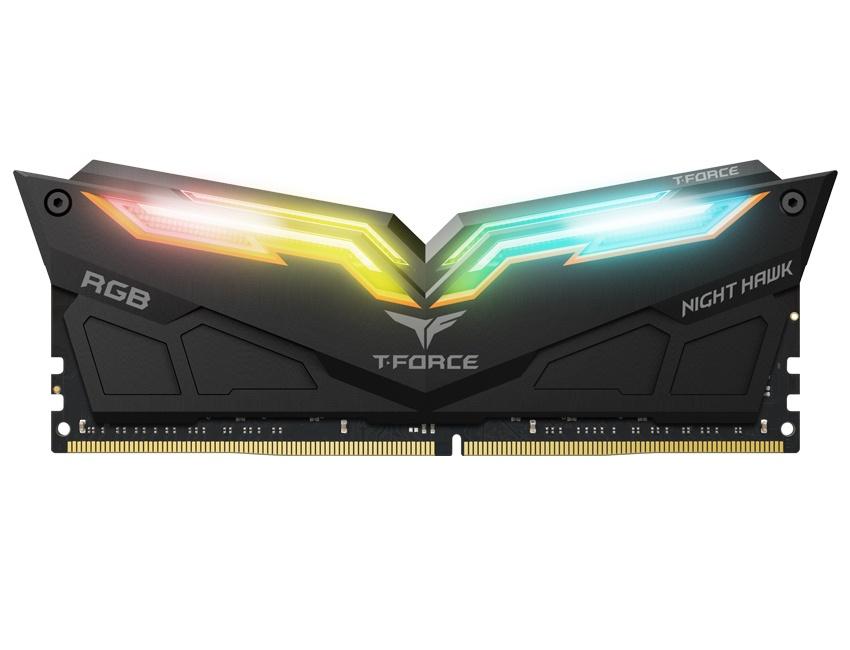 Memoria RAM Team Group Night Hawk RGB DDR4, 3000MHz, 16GB(2 x 8GB), Non-ECC, CL16, Negro