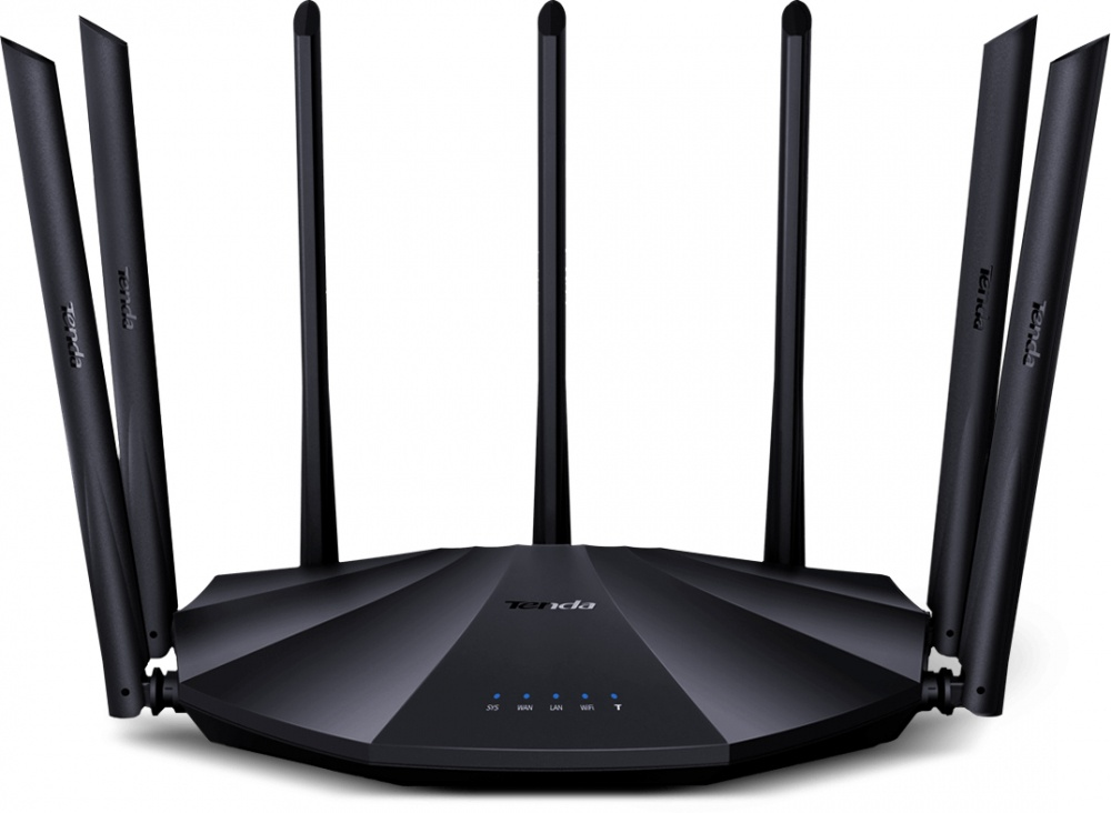Router Tenda Gigabit Ethernet AC23 AC2100, Inalámbrico, 2033 Mbit/s, 3x RJ-45, 2.4/5GHz, 7 Antenas de 6dBi ― ¡Optimizado para Gaming!