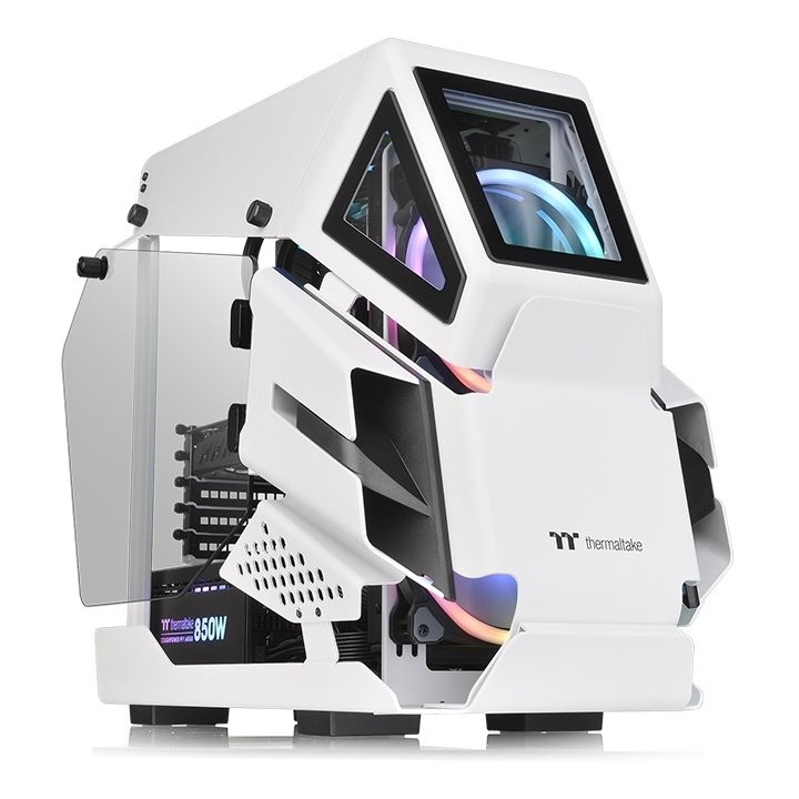 Gabinete Thermaltake AH T200 con Ventana, Micro Tower, Micro-ATX/Mini-ITX, USB 3.0/3.1, sin Fuente, Blanco