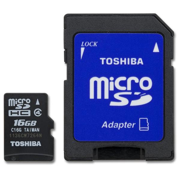 Memoria Flash Toshiba, 16GB microSDHC Clase 4, con Adaptador