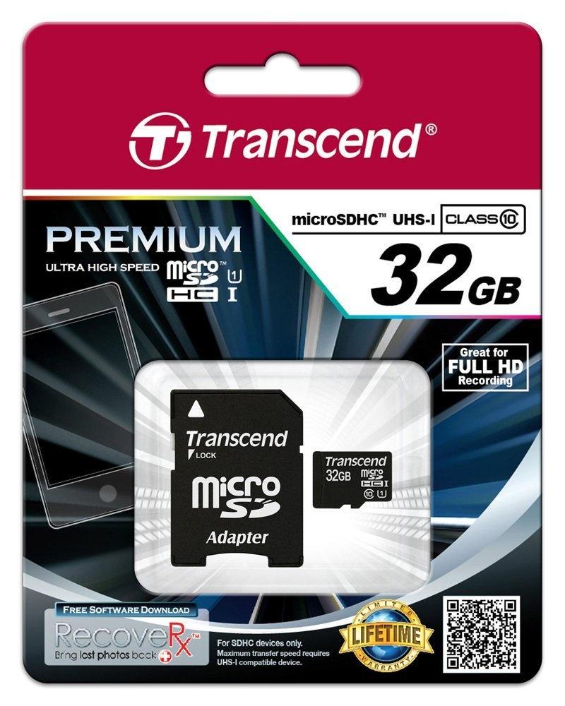 Memoria Flash Transcend, 32GB microSDHC UHS-I Clase 10, con Adaptador