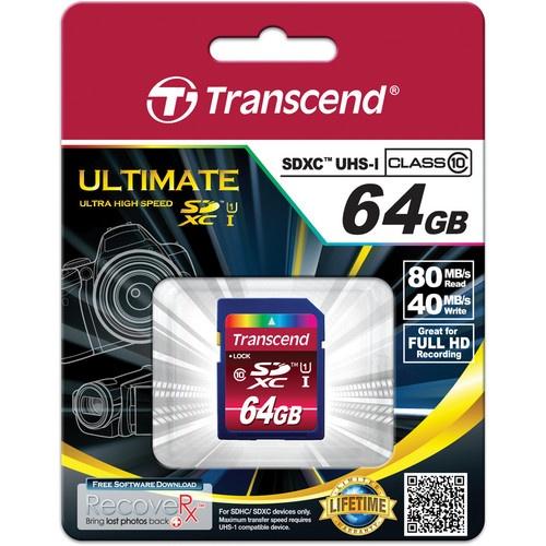 Memoria Flash Transcend TS64GSDXC10U1, 64GB SDXC UHS-I Clase 10