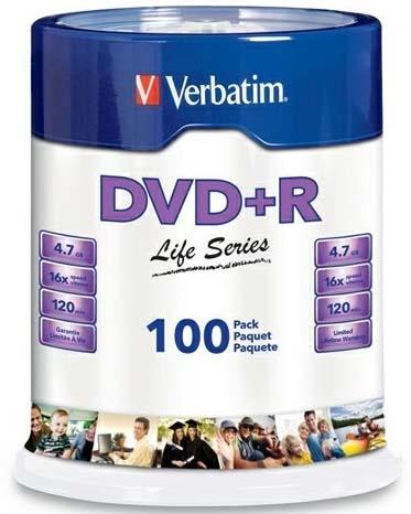 Verbatim Torre de Discos Virgenes para DVD, DVD+R, 16x, 100 Discos (97175)