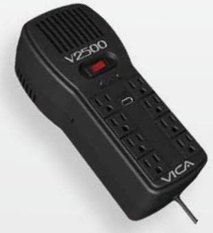 Regulador Vica V2500, 2500VA, 300J, Entrada 100-127V, Negro