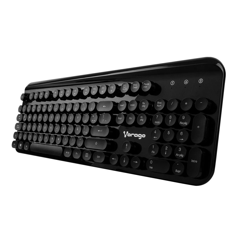 Teclado Vorago KM-200, Inalámbrico, USB, Negro (Español)
