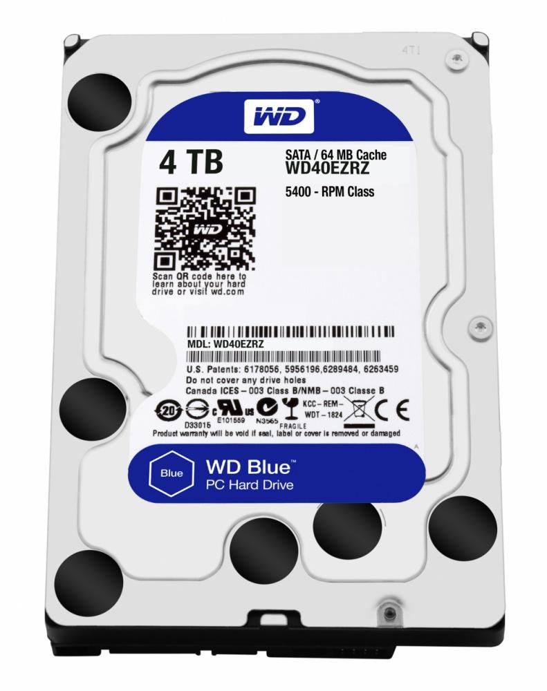 Disco Duro Interno Western Digital WD Blue 3.5'', 4TB, SATA III, 6 Gbit/s, 5400RPM, 64MB