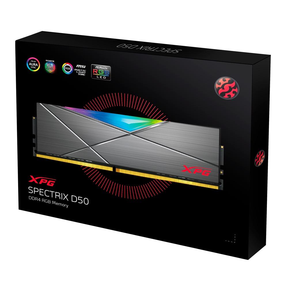 Memoria RAM XPG SPECTRIX D50 RGB Tungsten Grey DDR4, 4133MHz, 16GB, Non-ECC, CL19, XMP