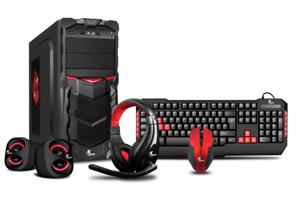 Gabinete Xtech XT-GMR-S LED Rojo, Tower, ATX, USB 2.0, con Fuente de 800W, Negro/Rojo + Bocinas/Audífonos/Mouse/Teclado