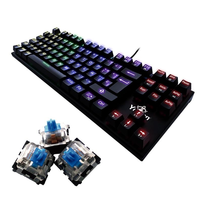 Teclado Gamer Yeyian Spark Serie 2000 RGB, Teclado Mecánico, Outemu Blue, Alámbrico, Negro (Español)